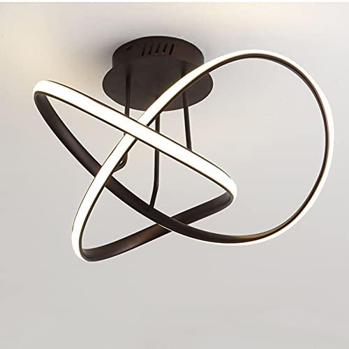 Plafón LED 2021 Con Mando A Distancia,Lámpara De Techo Regulable 3000K-6000K Para Sala,2 Anillos De Aluminio Lámparas De Araña Pantalla De Acrílico Para Cuarto Comedor Oficina,Rown 60cm