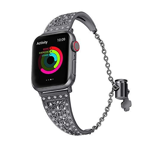 LIUZH Bandas de metal compatibles con Apple Watch Band 42 mm 44 mm, correa de repuesto dorada con adaptador+funda compatible con iWatch Series 6 5 4 3 2 1 SE (color: negro, tamaño: 42 mm/44 mm)