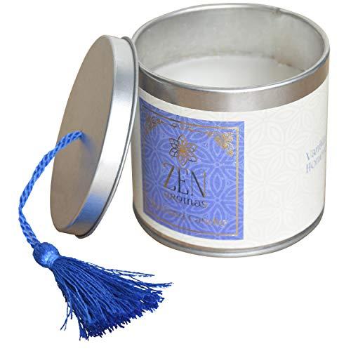 Hogar & Mas geurkaars cadeau 120 g, geurkaarsen Zen met decoratieve doos, 7,5 x 7,5 x 7 cm, blauw