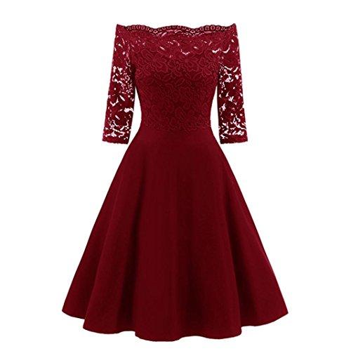 OVERDOSE Damen Vintage 1950er Off Schulter Cocktailkleid Retro Spitzen Schwingen Pinup Rockabilly Kleid Abend Party Kleider(A-Rot,EU34-36/CN-S)