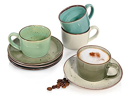 Sänger Kaffeetassen Napoli8-teiligesTassen-Set für 4 Personen aus Steingut, Tassenund Untertassen, erweiterbar, mehrfarbig, Alltag, besonderes Dinner,Kaffeetreff, Outdoor