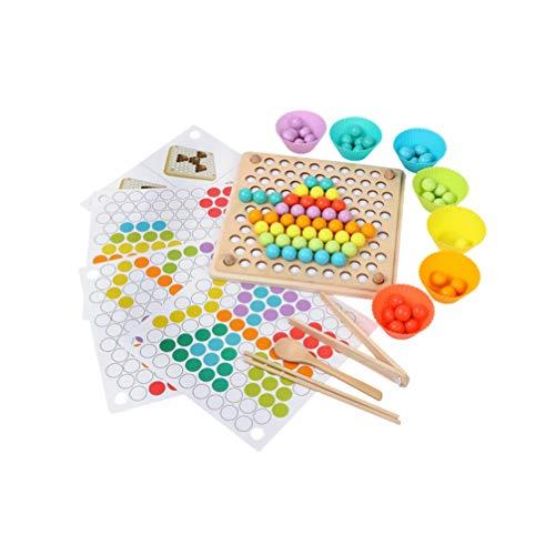 NUOBESTY 1 Set Mani Allenamento del Cervello Puzzle Perline di Legno Gioco Apprendimento Educativo Gioco di Giochi per Bambini Giocattolo Genitore-Fig