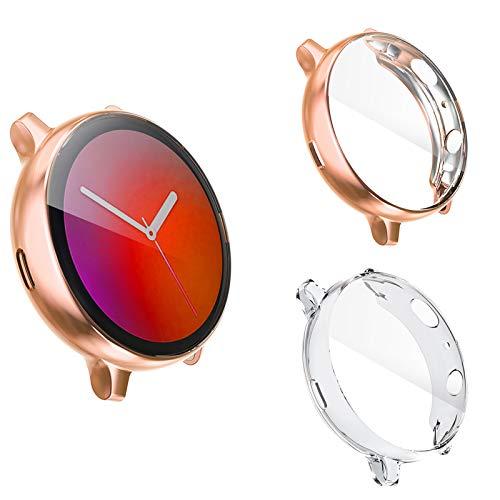 Dlihvy Funda Protectora para Samsung Galaxy Watch Active 2 40mm,Cubierta Protectora de Marco TPU Protector de Flexible de Cobertura Total para Samsung Galaxy Watch Active 2 (40mm, Clear+Oro Ro