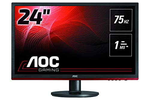AOC G2460VQ6 Monitor per PC Desktop Gaming da 24', FHD, 1920x1080, 75Hz, 1 ms, Speaker, D-Sub, HDMI, DP, Nero