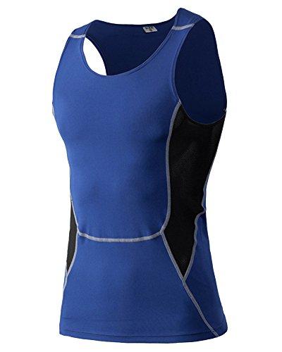 Compression Unterhemd T-Shirt Ärmellos Für Herren Basketball Fitness Laufen Tank Top Blau 2XL