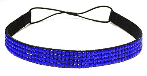 WigsPedia Rhinestone Crystal Stretch Headband 4-Row Head Piece Elastic Hair Band for Women (Royal Blue)