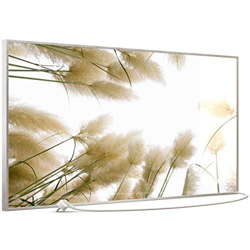 STEINFELD Heizsysteme® Glas Bild Infrarotheizung mit Thermostat | Made in Germany | viele Motive 350-1200 Watt Rahmen silber/alu (750 Watt, 043 Röhricht)
