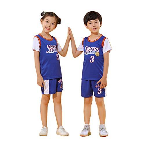 76ers Iverson # 3 Basketball Trikot Kid Jungen, Shorts Mädchen Top Westentraining Outdoor Sport Atmungsaktives schnelltrocknendes T-Shirt Set für Alter 2-14 Jahre-Blue-XXL