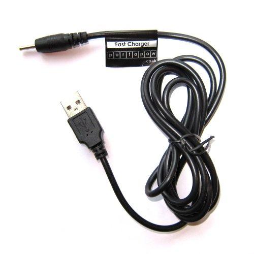 PortaPow - Cavo USB di Ricarica 2 A, 5 V, per Tablet Android A1CS Fusion 5, Momo 8 ECC, Diametro: 2,5 mm, Lunghezza: 150 cm Nero 150cm