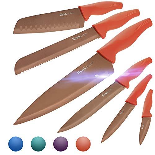 Wanbasion Naranja Juego de Cuchillos de Cocina, Cuchillos Cocina profesional chef, set de Cuchillos de Cocina Acero inoxidable