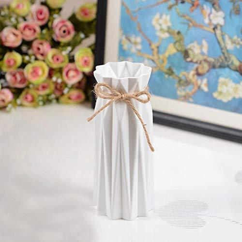 Ltong Anti-keramische vaas Woondecoratie Europese stijl Landelijke stijl Plastic vaas Bloemenmand Anti valBruiloft Decoratie, Wit