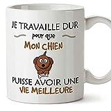 Taza original en francés, con texto en inglés 'I Work Hard So My Cat Can Have A Better Life Fun Toy s - Juguete de cerámica de 325 ml