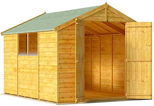 BillyOh Keeper Overlap Garden Shed with Floor | Wooden Garden Storage Shed with Apex Roof & Felt Included | Windowed or Windowless- Multiple Sizes (10x8 Windowed)