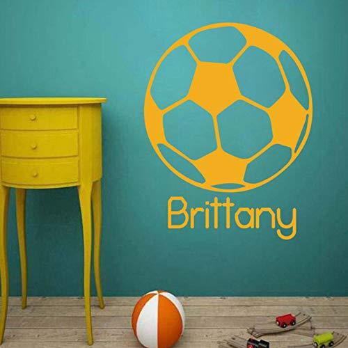 Hwhz 42X54 Cm Vinyl Kunst Abnehmbare Poster Wandbild Occer Ball Fußball Sport Benutzerdefinierte Name Wandaufkleber Jungen Teen Sport Aufkleber