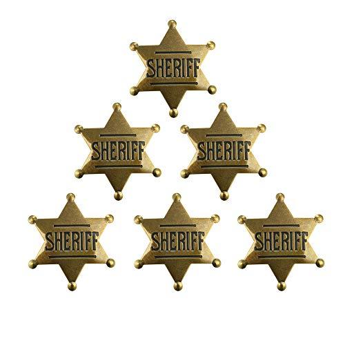 AGDLLYD 6 Pezzi Distintivo dello Sceriffo in Metallo Distintivo da Western Cowboy Costume Distintivo di Prop Nero Argento Halloween Forniture per Feste Badge. (Cannella)