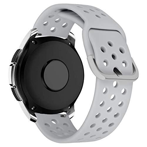 MroTech Armband 20mm kompatible mit Samsung Galaxy Watch 42MM/Active 2/Active2 40mm/44mm Uhrenarmband 20 mm Silikon Sportband Ersatz für Huawei GT 2 42MM/Vivoactive 3/Vivomove HR Ersatzarmband Grau