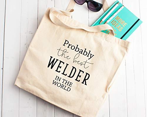 Bolsa de la compra de tela, regalo para el mejor soldador del mundo, regalo para ingeniero de metal, para técnico de vehículos, escultura