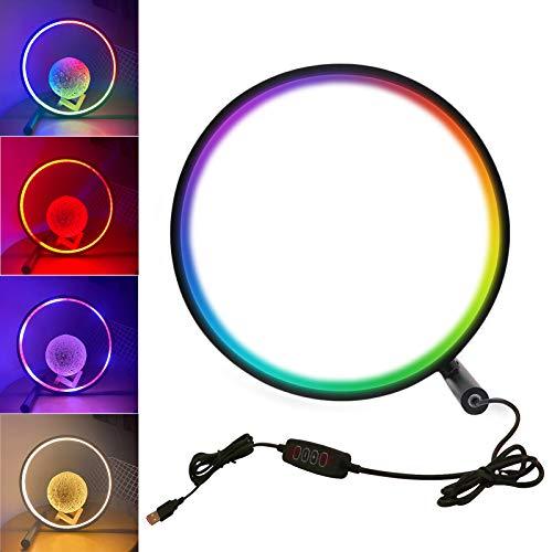 VOMI LED Lámpara Mesa Regulable para Dormitorio, Lámpara Mesa RGB con Cambio color Lámpara escritorio con Interruptor Táctil 15W Lámpara Interior Cable Alimentación USB 1,8 m, color negro