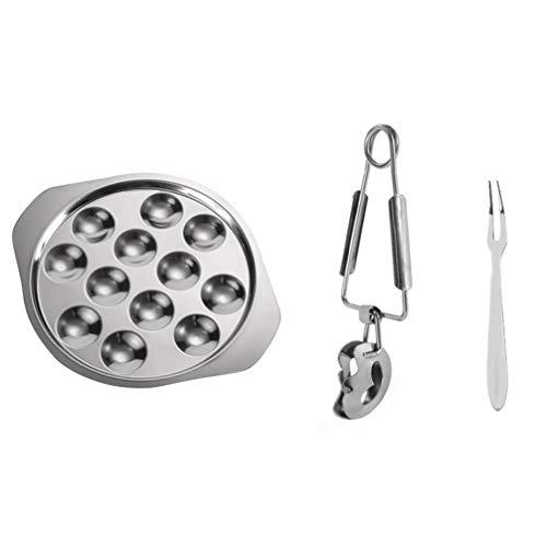 Cabilock 2 Juego de Plato de Caracol-2 Plato de Caracol 2 Pinzas de Cocina 2 Tenedor de Caracol de Acero Inoxidable para Cocinar Y Servir en Restaurante