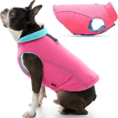 Gooby Sports Dog Vest - Pink, Medium - Fleece Lined Dog Jacket Coat with D Ring Leash - Reflective Vest Small Dog Sweater, Hook and Loop Closure - Dog Clothes for Small Dogs Indoor and Outdoor Use