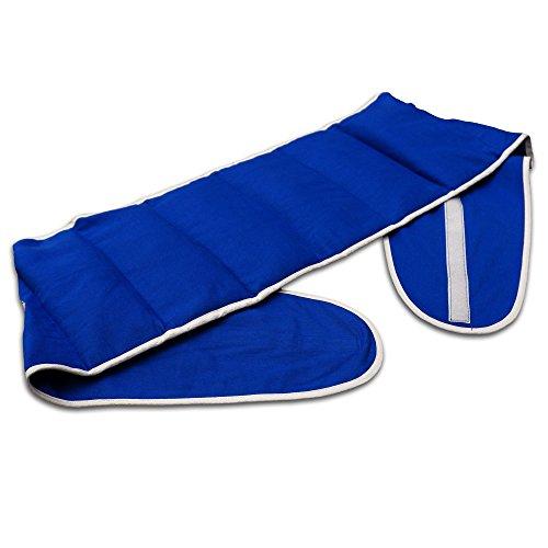 Bio-Körnerkissen - Großes Wärmekissen, Gürtel mit Klettverschluss für Rücken, Lenden. Wärme & Kälte Rückenkissen, ca. 135cm lang, 7-Kammer, Bio-Stoff enzianblau