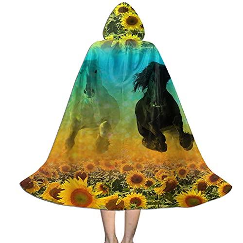 Cabo de girasol de caballo blanco y negro con capucha, pequeo (4-8 aos) disfraz de personaje de Halloween Cosplay disfraz para disfraces de cosplay de 3 a 20 aos