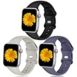 Easuny Compatible with Apple Watch Band 40mm 38mm Women Men - Sport Silicone Wristbands Strap Replacement Accessories for iWatch Bands Series 6/5/4/3/2/1,3 Pack of Black/Pebble Gray/Blue Gray,S/M