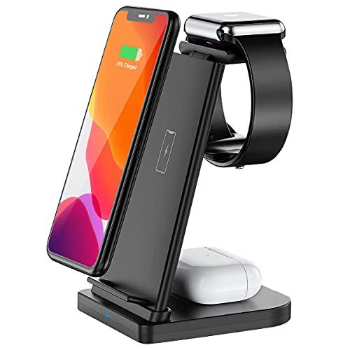 Bestrans Induktive Ladestation All in One, Fast Wireless Charger Kompatibel mit iWatch 6/5/4/3/2, AirPods Pro/2, Qi Ladestation Kompatibel mit iPhone 12/11 Pro Max/XS/XR/X/8/8 Plus (Schwarz)