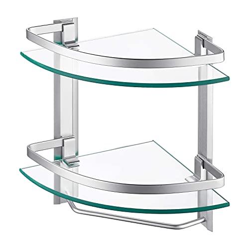 Amazon Brand - Umi Estanteria Baño Estanteria Ducha Estante de Vidrio 8mm Estante para Esquina Pared Organizador Aluminio 2 Niveles Pulido Cromo, A4123B
