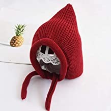 geiqianjiumai Sombrero para niños Orejeras de Punto de Color Caramelo Gorro de Duende cálido para bebé Puede Hacer Chal Rojo Talla única