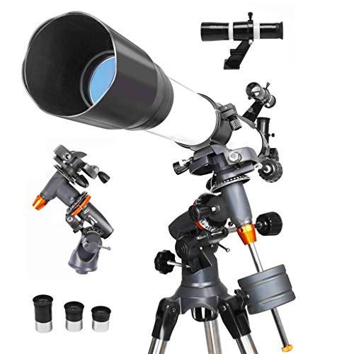 Adultos Profesional Telescopio Astronómico, Telescopio De Refracción, 90EQ Travel Scope, Revestimiento Completo Vidrio óptico 189X Ampliación Ajustable Trípode-90EQTC5