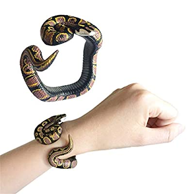 Binory Simulation Resin Animal Python Bracelet Handmade Painted PVC Material Prank Toy for Kids Adults April Fools Day Birthday Gift(A)