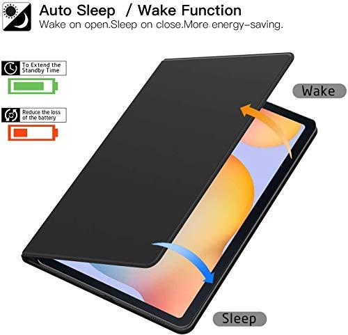 ZtotopCase Hülle für Samsung Galaxy Tab S6 Lite,Ultra dünn Smart Magnetisches Abdeckung Schutzhülle mit Stifthalter,Automatischem Schlaf/Aufwach,für Samsung S6 Lite 10.4 Zoll 2020 Tablette,Schwarz