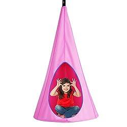 COSTWAY Hängezelt Hängehöhle Hängesessel Kinderhängesitz 115kg Tragkraft, Kinder Fly Schaukel 80x80x148cm (Pink)