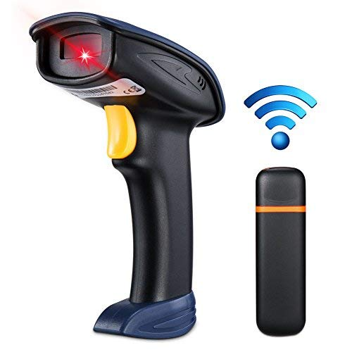 BLUEHRESY Barcode Scanner 2.4GHz Wireless Laser Scanner 1D Handheld Bar Code Reader Rechargeable Bar Code Hand Scanner for Computer POS Support Windows Mac Linux System 3d barcode scanner