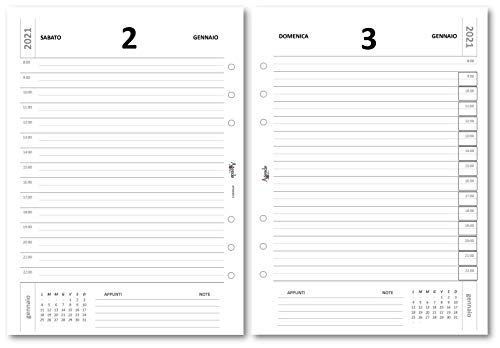 Ricambio agenda forata 15x21 giornaliera BIANCA 2021 (6 fori) agenda organizer