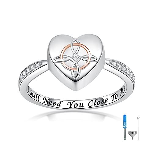 IOHUPCI Sterling Silver Celtic Knot Urn Ring for Ashes Hold Loved Ones Forever in My Heart Cremation Jewelry Urns Ring for Women (8)