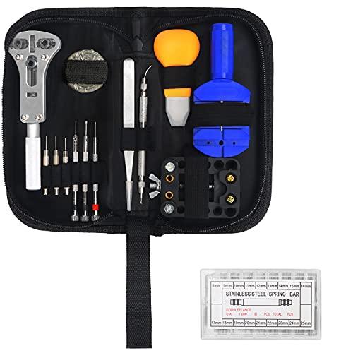 Kurtzy Kit Reparacion Relojes (319 Piezas) Set Herramientas Relojero Profesional Ajuste Pasadores con Estuche - Kit Relojero Retirar Eslabones, Cambio de Pila y Herramienta para Abrir el Reloj