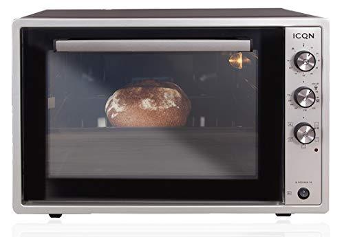 ICQN 60 Liter XXL Minibackofen | 1800 W | Umluft | Pizza-Ofen | Doppelverglasung | Drehspieß | Timer | inkl. Backblech Set | Elektrischer Mini Ofen | 40°-230°C | Emailliert | Inox Grau