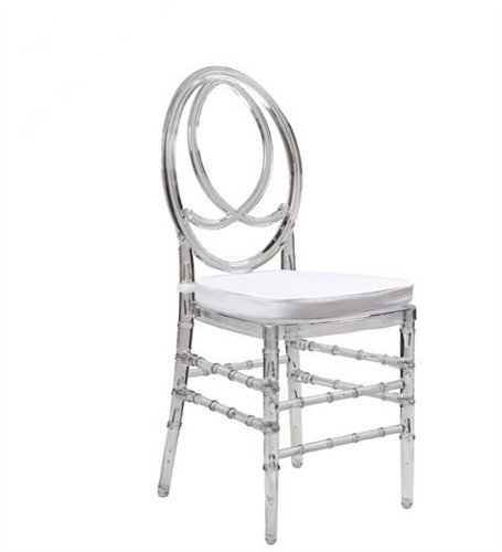 MOBIDECORA Stuhl stapelbar Polycarbonat Transparent und Cojin Fenix-tr–Weiß