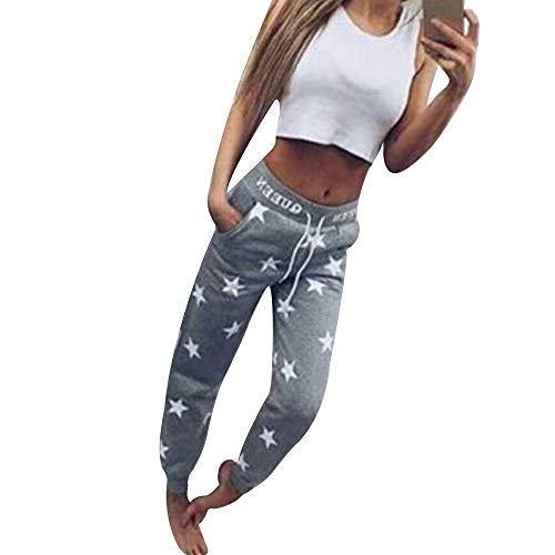 Shujin Damen Jogginghose Sporthose mit Sternen Drucken Trainingshose Fitnesshose Schlafhose Schlafanzug-Hose Joggen Sweatpants
