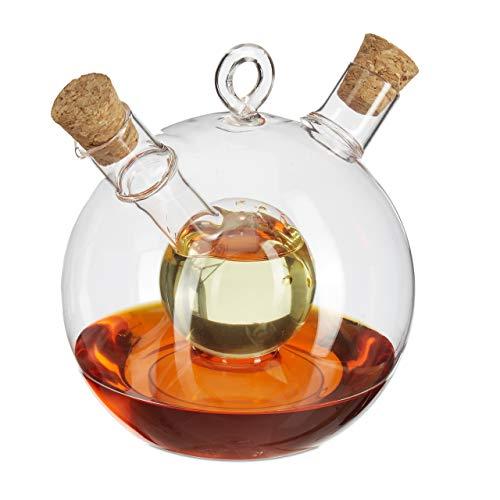 Relaxdays Aceitera & Vinagrera, 2 en 1, Tapón de Corcho, 375 ml & 50 ml, Cristal, 1 Ud, Transparente