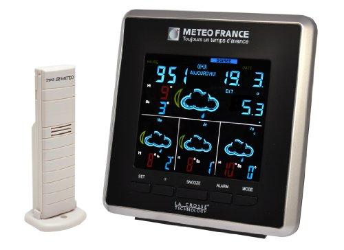 La Crosse Technology WD4025IT Wetterstation, Wettervorhersage für 4 Tage von Météo France, Schwarz (französischsprachig)