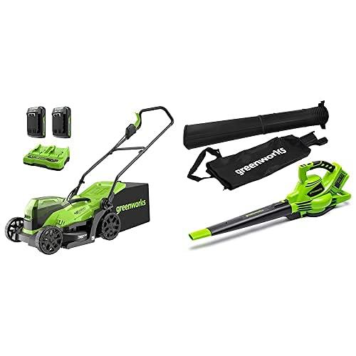 Greenworks Tools 2513407UC Cortacésped, 48V + Aspiradora y Soplador de hojas, Li-Ion 2 x 24V, Velocidad de aire 321 km/h, Regulación de velocidad, Bolsa colectora, Motor potente sin escobillas