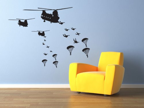 Vinyl Concept - Army Men Wall Stickers Troops Invade, Removable, Easy To Remove, Children'S Wall Stickers, Art Mural, Art Decor, Sticker Diy Deco : Black -- Large by Vinyl Concept