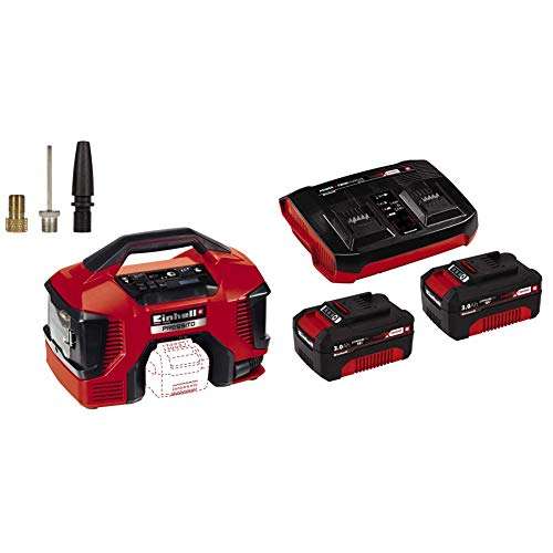 Einhell Compressore a batteria TE-AC 36/6/8 Li OF Set Power X-Change, Li-Ion, 2x 18 V, max. 8 bar, serbatoio da 6 Litri + 2X 3,0Ah & Twincharger PXC Starter Kit