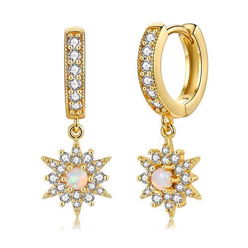 CERSLIMO Creolen Gold Damen, Zirkonia Creolen mit Stern & Opal Ohrringe Ohrhänger Gold 14K Schmuck für Frauen