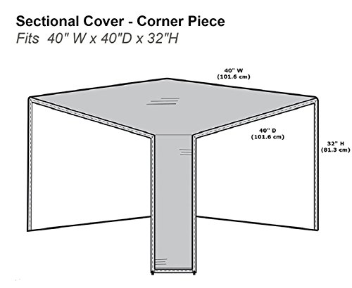 Protective Covers Inc. Modular Sectional Sofa Cover, Corner Piece With 90 Degree Back, 40' W x 40'D x 32'H, Gray - 1252