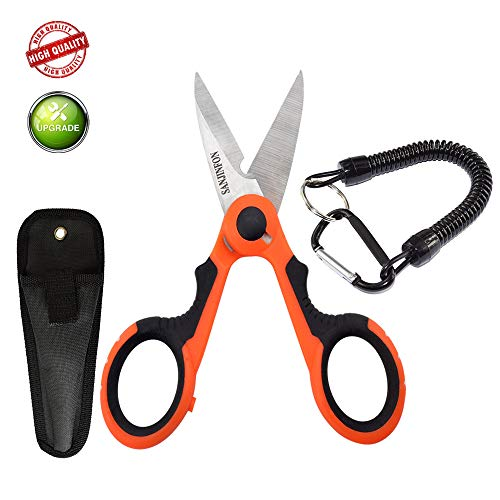 SunKinFon Fishing Heavy Duty Sharp Braided Line Scissors with Sheath, Non-Slip Cutting, Special Multi-Function Serrated Anti-bite Line Scissors for Fresh Saltwater (Scissors with Sheath & Lanyard)