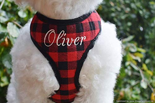 Best Personalized Custom Mini RED BUFFALO Plaid Padded DOG Harness | Adjustable Soft Comfortable | Name Embroidery Option | Handmade in USA